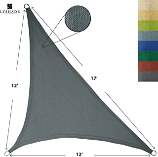 LyShade 12' x 12' x 17' Right Triangle Sun Shade Sail Canopy (Cool Grey) - UV Block for Patio and Outdoor