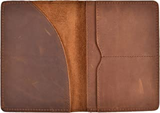 Passport Holder Wallet Cover Passport Case Genuine Crazy Horse Leather (Brown (Crazy Horse Leather))