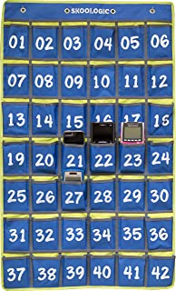 Cell Phone Pocket Holder for Classroom - Skoologic Numbered Chart Caddy Organizer for Cellphone and Calculator for Hanging Wall and Door (Blue, 42)