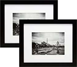 8x10 Black Picture Frames with 5x7 Inch Mat - 2-Pack - Wide Molding - Both Attached Hanging Hardware and Desktop Easel - Display Pictures 8 x 10 or 5 x 7 Inches Mats - Two Elegant Family Photos Frame