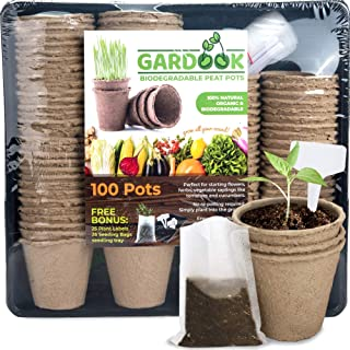GARDOOK Seed Starter Kit with 100 Peat Pots for Seedlings Seed Starter Tray Plastic Growing Trays 25 Seed Bags and 25 Plan...