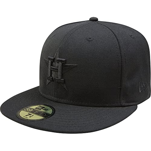 f7cf0a9543e MLB Houston Astros Cooperstown Black on Black 59FIFTY Fitted Cap