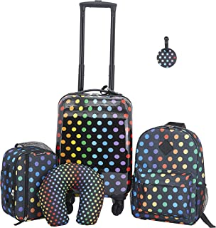 Travelers Club Kids' 5 Piece Luggage Travel Set, Black Polkadot