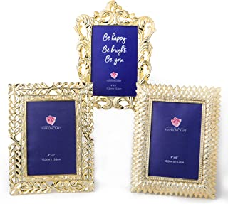 FASHIONCRAFT Gold Vintage Antique Picture Frames Table Top,Set of 3 Picture Frame for 4x6 Inches Photos,Baroque Ornate Electroplate Finish,Perfect for Wedding Graduation Home Decor – Vintage Frame Set