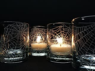 Halloween Webs Candle Holders Engraved Glass Party Decor Votive Holders