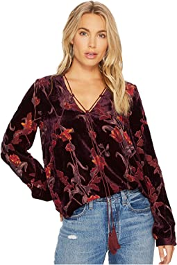 J.O.A. Burnout Velvet Tie Neck Top