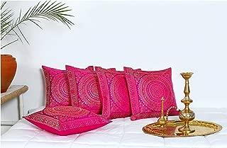 HANDICRAFT-PALACE Silk Brocade Square Cushion Cover Indian Traditional Handmade Banarasi Sofa Decorative Pillow Case Throw Faux Silk Cushion Case Home Decor (Pink)