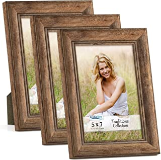 Icona Bay 5x7 Picture Frames (Chestnut Brown, 3 Pack) Beautifully Beveled Front and Sides, Time-Honored Style, Traditions ...