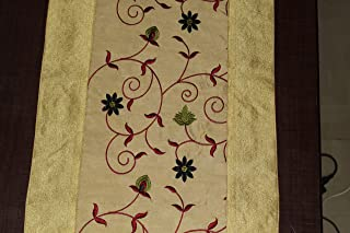 Real Online Seller Traditional Table Runner/Decorative Silk Table Cloth/Ethnic Floral Designed Rectangular Centre Table Tapestry, Size : 60 x 16 Inch