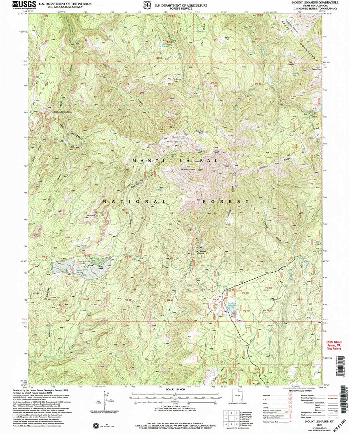 Mount Linnaeus UT topo map, 1 24000 Scale, 7.5 X 7.5 Minute, Historical, 2001, Updated 2004, 26.5 x 21.8 in