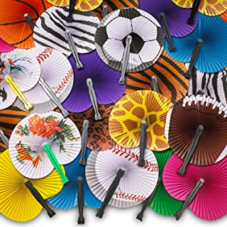 Kicko Folding Paper Fans for Kids - 48 Piece Assortment in Colorful Box - 10 Inch - Easy to Use Chinese Paper Fans for Boys, Girls, Birthdays, Japanese Party Decoration, Party Favors