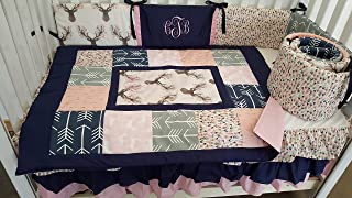 Woodland 1 to 4 Piece baby girl nursery crib bedding Quilt, bumper, and bed skirt, Buck, deer, fawn, head silhouette, Arrow, Teepee, Aztec, Navy Coral, Gray, Pink