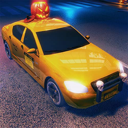 Crazy Car Halloween Party Taxi Driver Game 3D: Night Car Driving Games