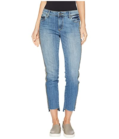 KUT from the Kloth Reese Ankle Straight Leg w/ Fray Step Jeans in Literal (Literal/Medium Base Wash) Women