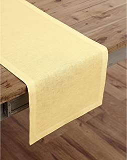 Solino Home 100% Pure Linen Table Runner – 14 x 36 Inch Athena, Handcrafted from European Flax, Natural Fabric Runner – Yellow