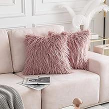 Home Brilliant 2 Packs Decorative Pillow Covers Merino Faux Fur Fuzzy Euro Sham for Patio 24 x 24 Inches 60cm x 60cm, Rose...