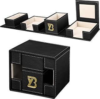 Desk Top Office Supplies Organizer - Pen and Pencil Holder in Pu Leather with 4 Compartment, Office Storage Supplies Caddy Black Desk Organizer Caddy