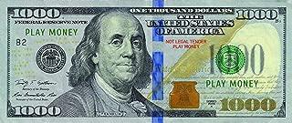 Custom Toys & Hobbies 10X $1000 Bills Prop Money/Fake/Play. NOT Legal Tender Size 2.25x5.25 in.