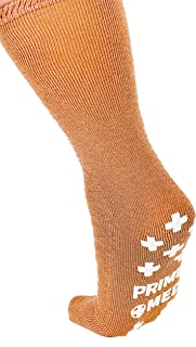 Non-Skid Terrycloth Mid-Calf Socks from PrimeMed (Tan) - Wide XXL Single Tread Slip-Stop Grip (4 Pairs)