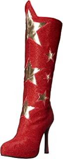 Women's Red Superhero Star Boots 女性のレッドスーパーヒーロースターブーツ?ハロウィン?クリスマス?9