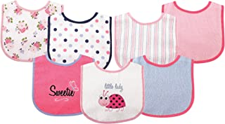 Luvable Friends Unisex Baby Cotton Terry Drooler Bibs with PEVA Back, Ladybug, One Size