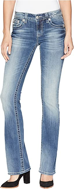 Miss Me Horseshoe Mid-Rise Bootcut Jeans in Medium Blue