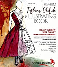 Fashion Sketchbook 400 Figure Templates, Premium Hardcover, Heavy-Weight Multi-Media Paper (8.5x6 Travel Size)