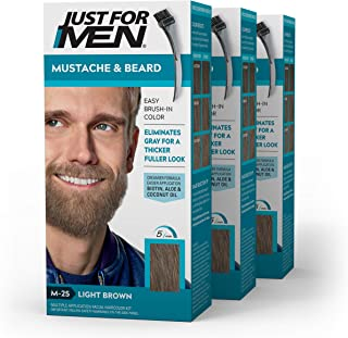 2 x Just For Men Brush In Colour Gel Natural Light Brown (M25) Facial Hair 42g