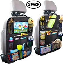 MZTDYTL Car Backseat Organizer with Touch Screen Tablet Holder + 9 Storage Pockets Kick Mats Car Seat Back Protectors Great Travel Accessories for Kids and Toddlers(2 Pack)