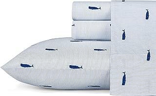 Nautica Whale Stripe Sheet Set, Twin, Blue