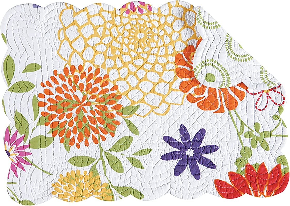 C F Home Set Of 4 Lilly Quilted Placemat 13X19