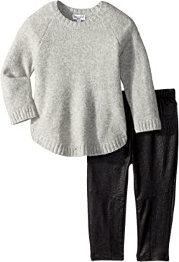 Poncho Sweater and Pleather Leggings Set (Infant)