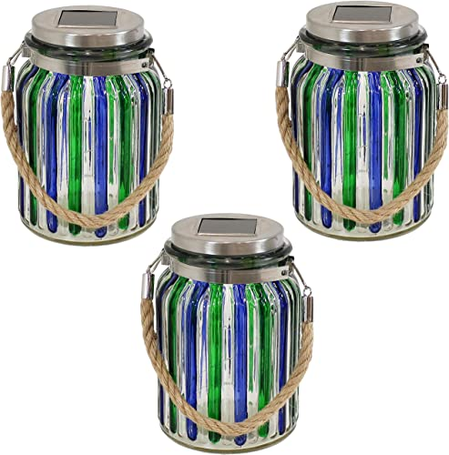 2021 Sunnydaze online Solar LED Lantern wholesale Blue and Green Striped Glass Jar Light with White String Lights, Set of 3 sale