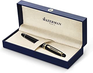 Waterman Expert Fountain Pen, Gloss Black with 23k Gold Trim, Medium Nib with Blue Ink Cartridge, Gift Box