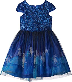 Cap Sleeve Lace Dress w/ Unicorn Print (Big Kids)