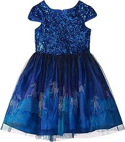 Cap Sleeve Lace Dress w/ Unicorn Print (Big Kids)