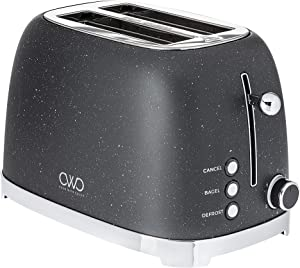 Cook with Color Toaster, Stainless Steel 2 Slice Rounded, Wide Slot Toaster with 6 Browning and Toasting Levels, with Bagel, Defrost and Cancel Options (Dark Grey)