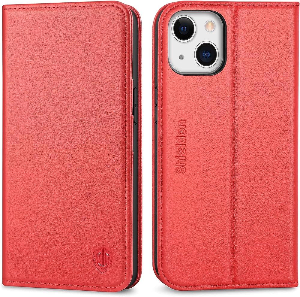 Shieldon custodia per iphone 13 5g porta carte di credito portafoglio in pelle SHIELDON-I13-6.1-RED1