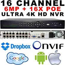 USG IP Network 6MP 16 Channel Security NVR with 16x PoE Ports Built-in 30722048 6MP Max Resolution 2X SATA, ONVIF 2.4, RTSP, HDMI, VGA, USB, Audio, Alarm, Gigabit RJ45, DK8, Face Detection, Cloud
