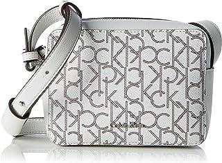 a443a083e3 Calvin Klein TIN4 Mono Small Crossbody, Sac Femme, Blanc (White Monogram),