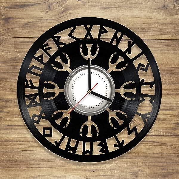 Viking Symbols Vinyl Wall Clock Norse Symbols Vegvisir Compass Art Decorate Home Unique Gift Idea For Him Her 12 Inches