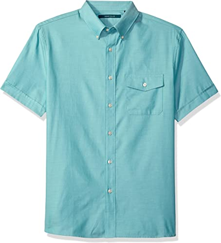 Perry Ellis Hommes's Solid Texturouge Oxford Single Pocket Shirt, vert bleu, Extra grand