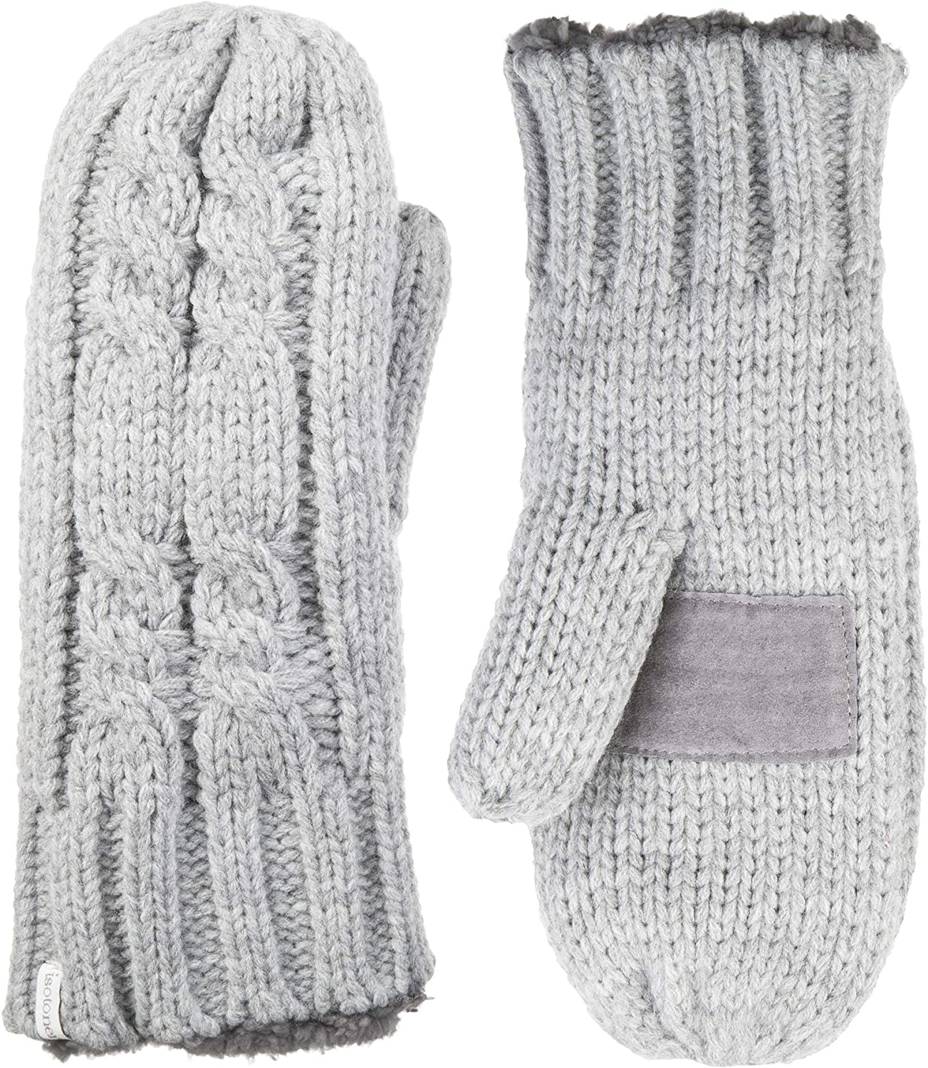 isotoner Women's Chunky Cable Knit Cold Weather Mittens with Warm, Soft Lining