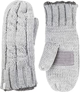Women's Chunky Cable Knit Cold Weather Mittens with Warm, Soft Lining