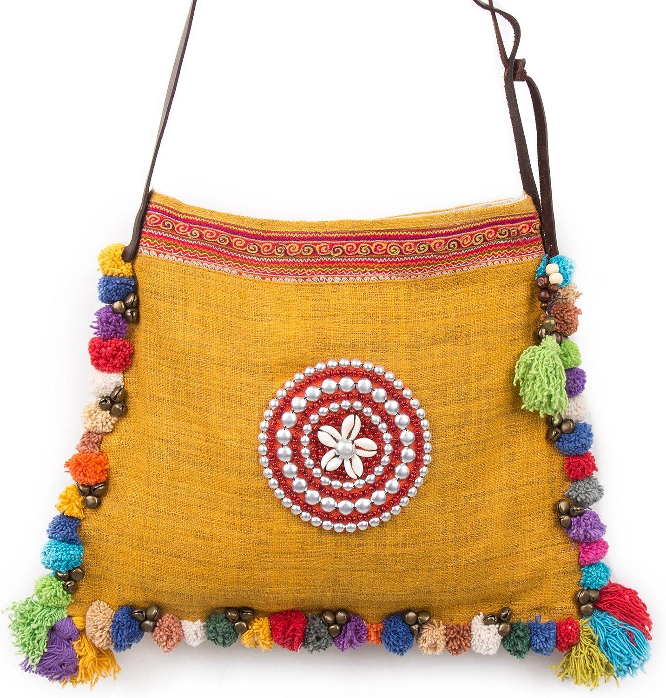 Changnoi Fair Trade Pom Pom Crossbody Bag, Hemp Fabric, Vintage Hmong Embroidery