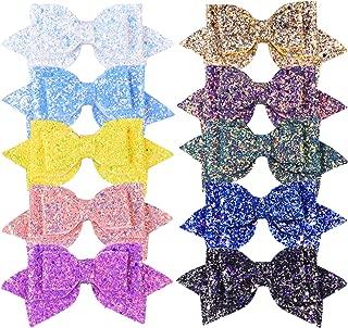 SIQUK 10 Pcs Glitter Hair Bows with a Storage Bag