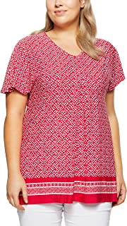 My Size Women's Plus Size Beach Party Border Top, Red