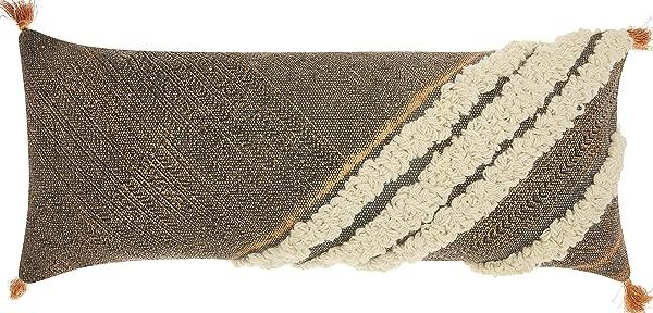 Nourison Mina Victory AM203 Life Styles Diagonal Texture Boho Throw Pillow 16 X 33 Grey
