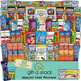 Healthy Snack Box Variety Pack (60 Count) Fathers Day Gift Basket for Dad - College Student Care Package, Natural Food Bar Nut Fruit, Nutritious Chips - Birthday Treat for Women, Men, Adults, Kids