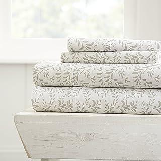 Linen Market 4 Piece Sheet Set Patterned, King, Burst of Vines Gray